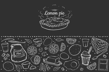 Illustration fresh sweet lemon pie isolated on black chalk board recipe for cafe menu