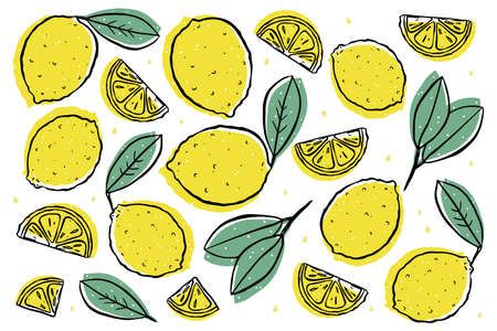 Illustration set of isolated lemons, fruit slices and leaves. Color image on a white background.