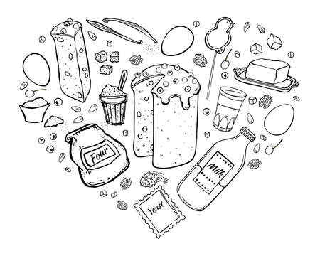 Illustration Easter cake and ingredients for cooking. Isolated black outline objects on white background. Heart shape.