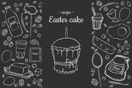 Illustration Recipe Easter cake. Set objects for cooking isolated on black chalk board recipe for cafe menu price tag