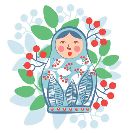 Russian souvenir nested doll surrounded by leaves and berries.