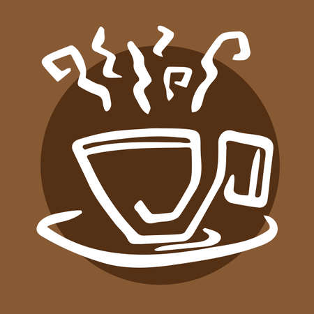 signboard outline steaming hand-drawn cup