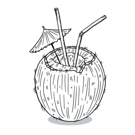 Illustration imprint of a coconut with straws and an umbrella. Doodle style. Black outline isolated on white background.
