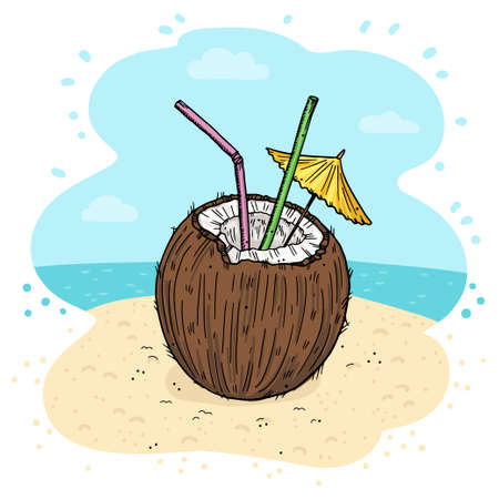Illustration of a cocktail in a coconut on the beach. With straws and umbrella. Doodle style.