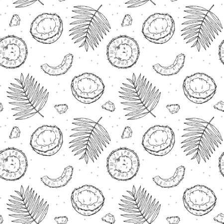 Seamless pattern coconut, palm leaves, pieces of coconut on a white background. Doodle black outline style.