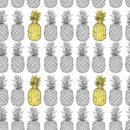 Pineapple fruits seamless pattern. Whole and half of the fruit on a white background. Doodle black outline style ..