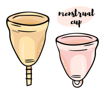 Color illustration of a set of menstrual cups with different tails. Black outline on a white background. Simple line doodle style. Иллюстрация