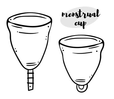 Illustration set of menstrual cups with different ponytails. Black outline on a white background. Simple line doodle style. Иллюстрация