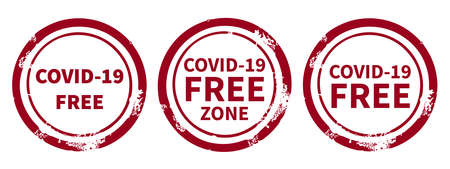 A set of circle signs with an inscription informing about the covid-19 virus-free zone. Simple style. Isolated objects on a white background.