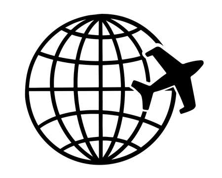 Illustration of an airplane flies around the earth. Stylized image. Simple flat style. Isolated on white background.