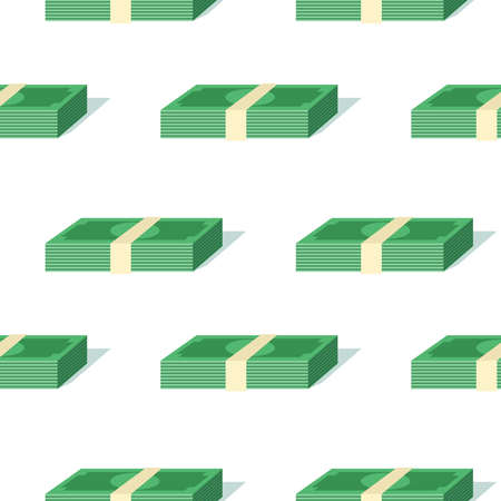 Colored seamless pattern from bundles of money. Bulky packs located diagonally. Simple isometric style. Objects are isolated on a white background.