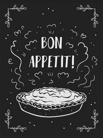 Bon appetit poster. Fragrant cake and inscription. White chalk outline on a black background. Simple cute doodle style. Vektorgrafik