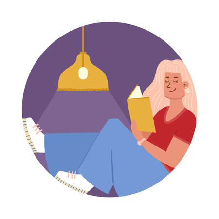 Illustration of a girl with a book. Reading, time with yourself, lifestyle. Composition in a circle. Simple cute style.