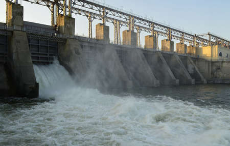 factory power generation: Hydro power plant Stock Photo