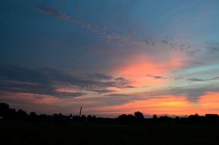 Sunset in the countryside. Korolevka - village, Nikolaevsky village council, Novomoskovsk district, Dnipropetrovsk region, Ukraine. Stockfoto