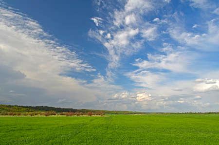 Spring landscapes in the countryside. City Novomoskovsk Ukraine. Stockfoto