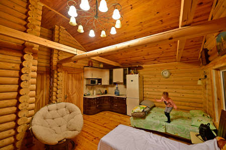 The city of Kharkov Ukraine 10/13/2019. Relax in the bathhouse, forest house.