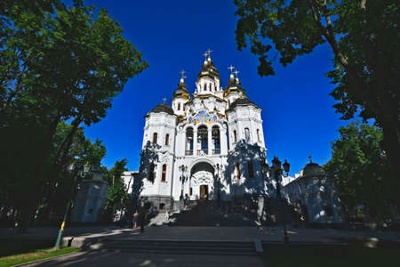 The Myrrh-Bearing Church is an Orthodox church that has existed in Kharkov since the end of the 16th century. The temple, named after the Myrrh-Bearing Women, was located in the Upland city center. Stock Photo