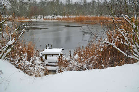 Forest rivers, beautiful winter snowy landscape.