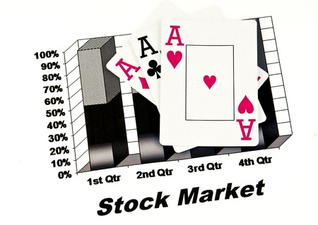 black stock market chart with playing cards,aces