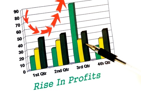 quarterly: Rise in profits chart with pointing pen