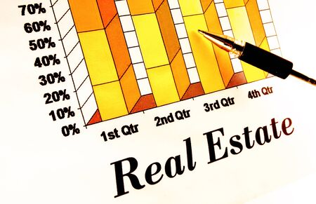 Real estate chart with pointing pen