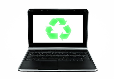 Recycle green opened laptop computer isolated on white