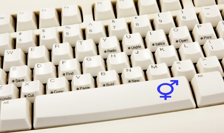Diversity transgender sign on white keyboard