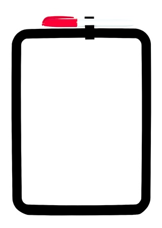 Red pen attached to white background dry erase board with a black border Stok Fotoğraf