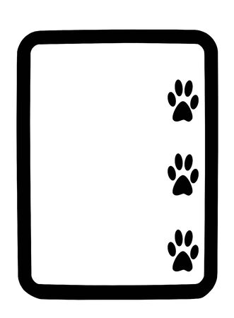 dry erase: Three black animal paw prints on a white dry erase background board