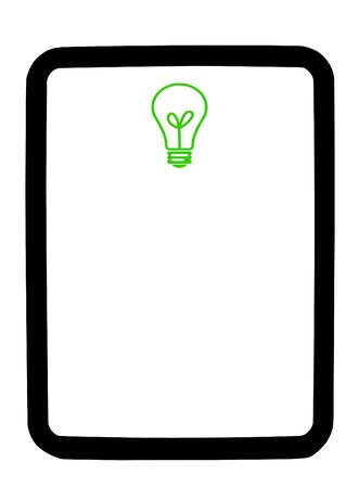 dry erase: Green lightbulb on a white dry erase background board