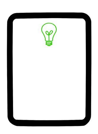 Green lightbulb on a white dry erase background board