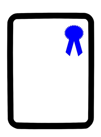 dry erase: Blue ribbon on a dry erase white background board Stock Photo