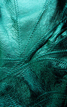 Green leather textured close up background Stock Photo - 12331600