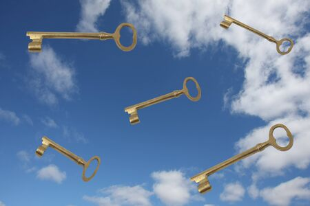 Gold keys falling from the blue sky and white clouds