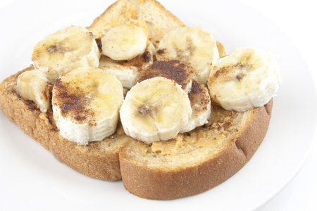 A peanut butter and banana bread sandwich