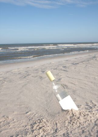 An empty bottle buried in the sand at the beach
