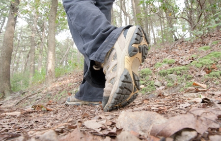 A hiker walking the Appalachian Trail in Pennsylvania
