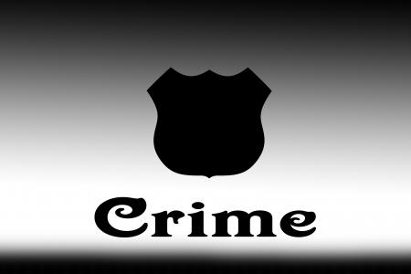 白と黒のグラデーションの背景に言葉犯罪。途中でブランク黒のバッジ。 写真素材