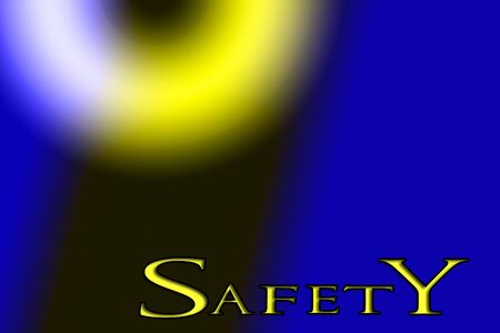 The word safety on a background of black, blue, and yellow Stok Fotoğraf