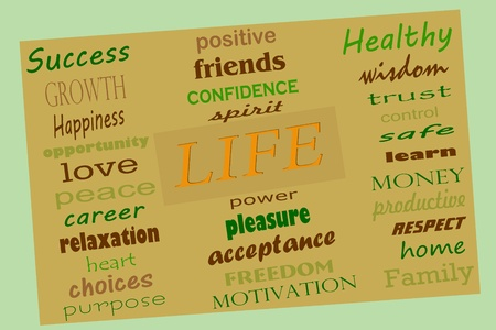 A collage of words of what people want out of life photo