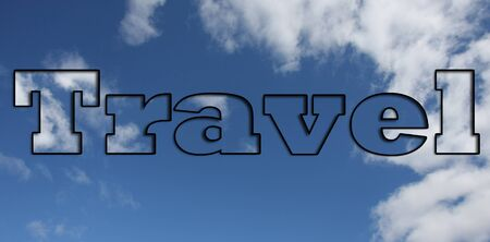 The word travel with a sky background