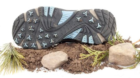 Sneaker flipped over on top of dirt,rocks and green leaves isolated on white Stock Photo - 17089767