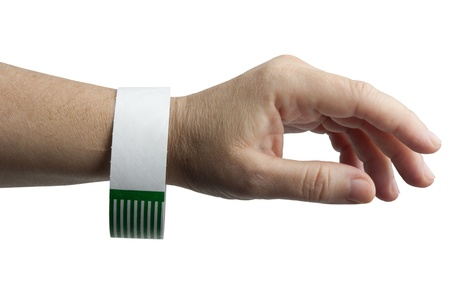 A hospital emergency bracelet on patient on white