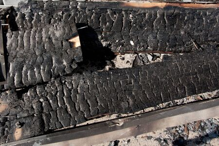 charred: Remains of a building burnt down