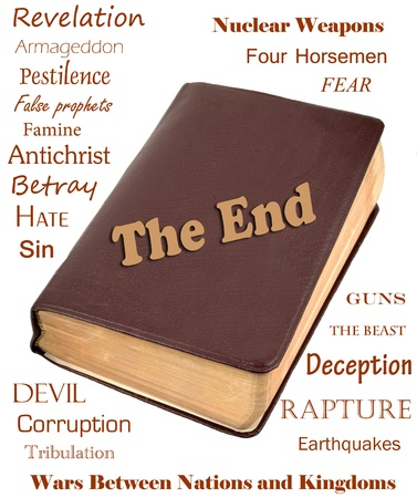 book of revelation: Words that relate to the end of the world around a leather bible