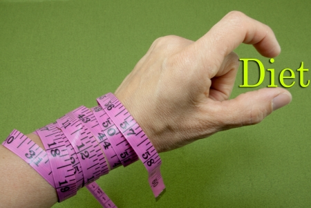 Measuring tape wrapped around a wrist.  A green background with the word diet