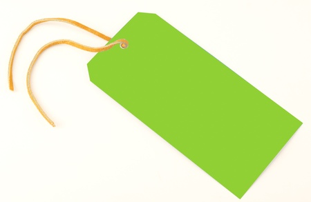 Green tag on a light gray background