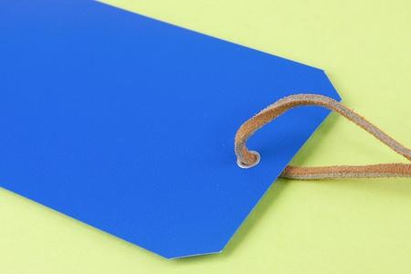 Blau-Tag mit einem grünen Hintergrund und einem Lederseil Standard-Bild - 20665532