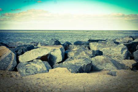 Vintage looking ocean and rocks